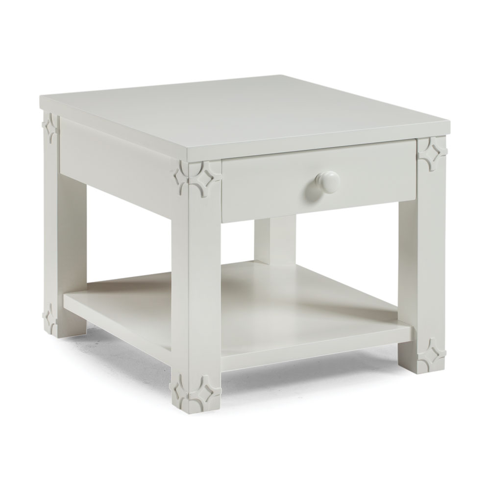Brussels Side Table with Magazine Shelf White